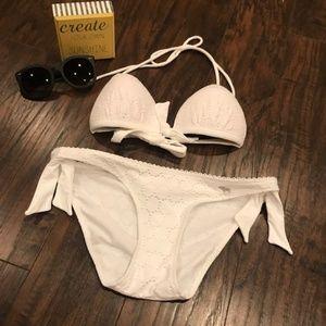 Abercrombie & Fitch white lace push up bikini set